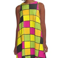 Brightly Neon Colored Squares Pattern A-Line Dress
