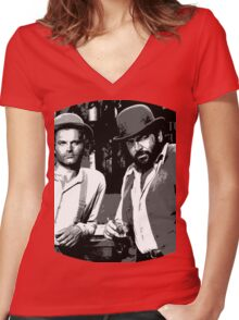 Terence Hill & Bud Spencer - Italian actors Women's Fitted V-Neck T-Shirt