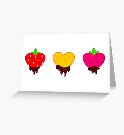 Strawberry, orange and raspberry chocolate hearts with Chocolate Greeting Card