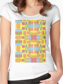 Watercolor Playground #4 Yellow Pink Blue Green Women's Fitted Scoop T-Shirt