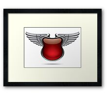 Silver banner with wings Framed Print