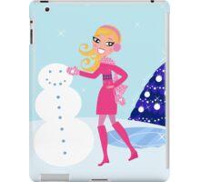 Stylish girl illustration : pink christmas edition iPad Case/Skin