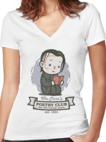 mr clares poetry club  Women's Fitted V-Neck T-Shirt