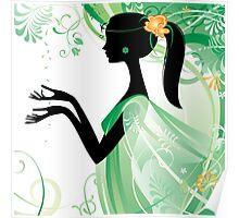 Girl in green Poster