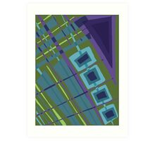 Abstract Pattern in Olive, Purple, Blue Art Print