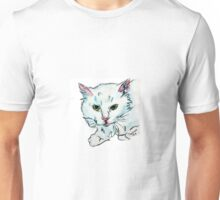 Super Sweet Fluffy White Kitty Watercolor by Pandora Fox  Unisex T-Shirt
