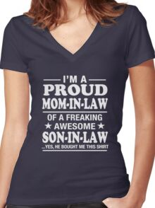 Proud Mom-In-Law Of A Freaking Awesome Son-In-Law T-Shirt T-Shirt Women's Fitted V-Neck T-Shirt
