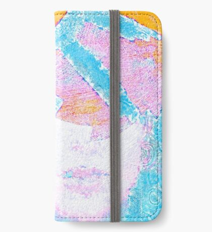 Deco Spikes - Turquoise Female Portrait Abstract iPhone Wallet/Case/Skin