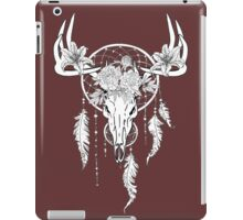 Boho Indie Deer Skull with Dream Catcher and Flowers iPad Case/Skin
