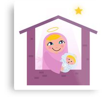 Nativity Bethlehem scene: Virgin Mary and Baby Jesus Metal Print