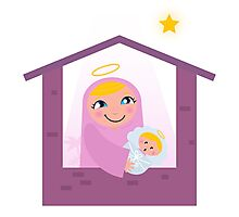 Nativity Bethlehem scene: Virgin Mary and Baby Jesus Photographic Print
