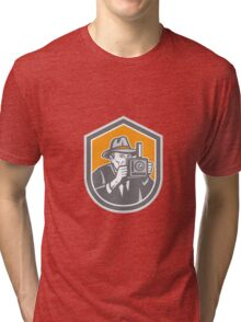 Photographer Vintage Camera Shield Retro Tri-blend T-Shirt