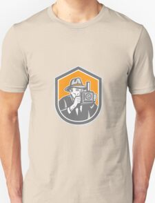 Photographer Vintage Camera Shield Retro Unisex T-Shirt