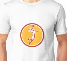 Volleyball Player Spiking Ball Circle Retro Unisex T-Shirt