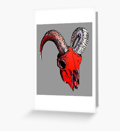 Decay Hath Such Grace - Red Ram Skull on Grey Greeting Card