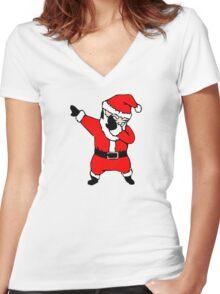 santa dab Women's Fitted V-Neck T-Shirt