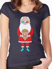 Santa Claus with popcorn and 3D glasses Women's Fitted Scoop T-Shirt