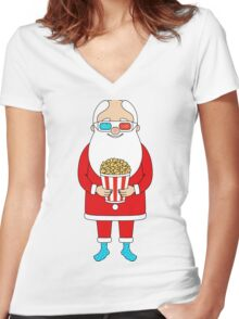 Santa Claus with popcorn and 3D glasses Women's Fitted V-Neck T-Shirt