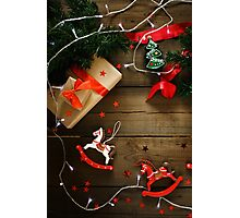 Christmas composition with Xmas lights  Photographic Print
