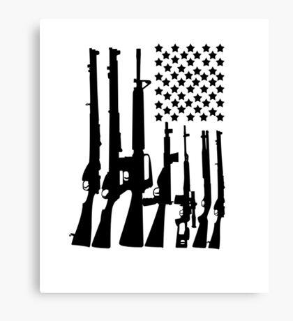 Big American Flag With Machine Guns black Canvas Print