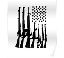 Big American Flag With Machine Guns black Poster