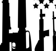 Big American Flag With Machine Guns black Sticker