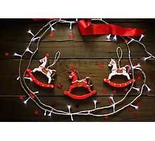 Festive Christmas composition on wooden background Photographic Print