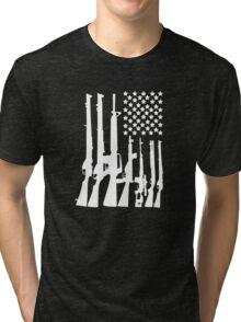 Big American Flag With Machine Guns white Tri-blend T-Shirt