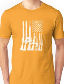 Big American Flag With Machine Guns white Unisex T-Shirt