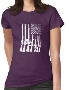 Big American Flag With Machine Guns white Womens Fitted T-Shirt
