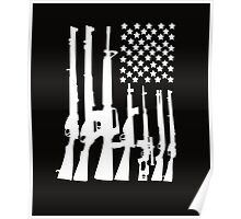 Big American Flag With Machine Guns white Poster