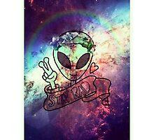 Stay Rad Trippy Alien Photographic Print