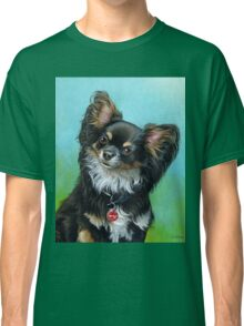 Butterfly eared black chihuahua portrait, acrylic painting Classic T-Shirt