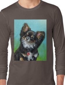 Butterfly eared black chihuahua portrait, acrylic painting Long Sleeve T-Shirt