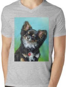 Butterfly eared black chihuahua portrait, acrylic painting Mens V-Neck T-Shirt