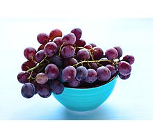 Bunch of blue grapes on blue background Photographic Print