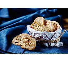 Fresh fried bread for bruschetta Photographic Print