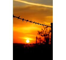 Barbed wire sunset (portrait) Photographic Print