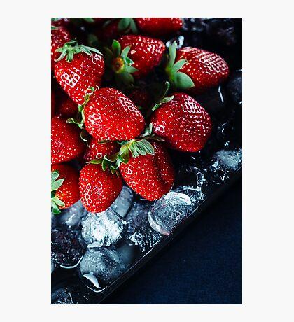 Ripe strawberry on ice Photographic Print