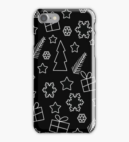 Black and white Xmas pattern iPhone Case/Skin