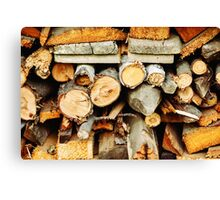 Stacked wood timber for construction Canvas Print
