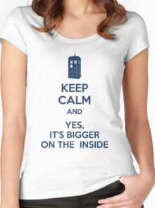 Keep calm and yes, it's bigger on the inside Women's Fitted Scoop T-Shirt