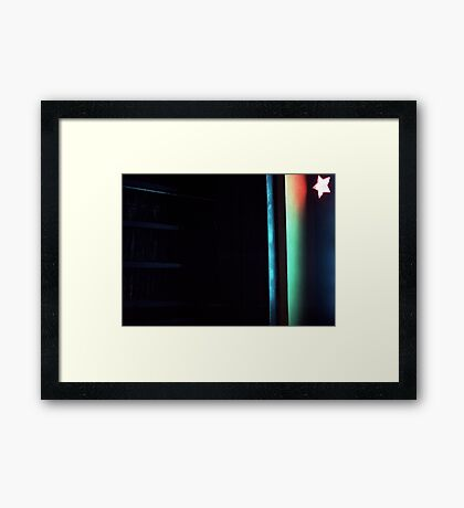 Abstract dark photo of star and lines on blackness silver gelatin color 35mm negative analog film photo  Framed Print