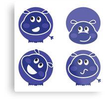 Creative hippopotamus. Blue edition Metal Print