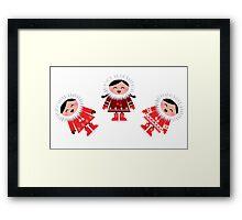 Happy stylized eskimo kids. Retro illustration Framed Print