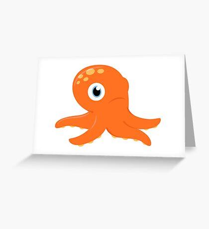 Orange underwater Octopus : for Kids Greeting Card