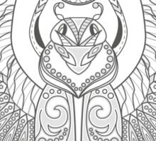 Black and white texture. Floral patterns of the scarab zentangle. Decorative ornament. Sticker