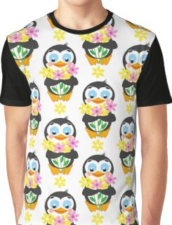 Happy penguin and flowers Graphic T-Shirt