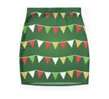 Christmas bunting for your party / Dark green Mini Skirt