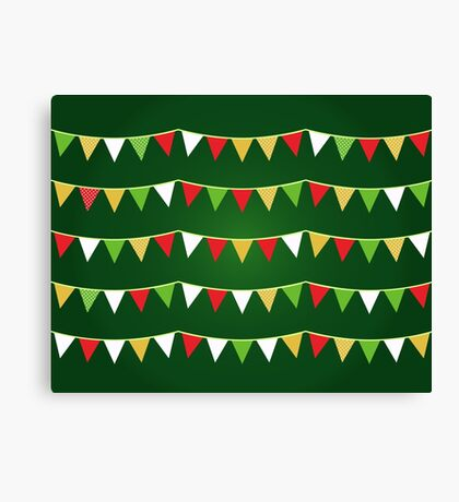 Christmas bunting for your party / Dark green Canvas Print